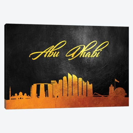 Abu Dhabi United Arab Emirates Gold Skyline Canvas Print #ABV489} by Adrian Baldovino Canvas Print