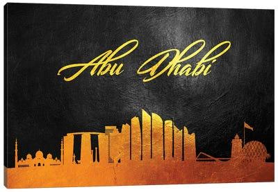 Abu Dhabi United Arab Emirates Gold Skyline Canvas Art Print