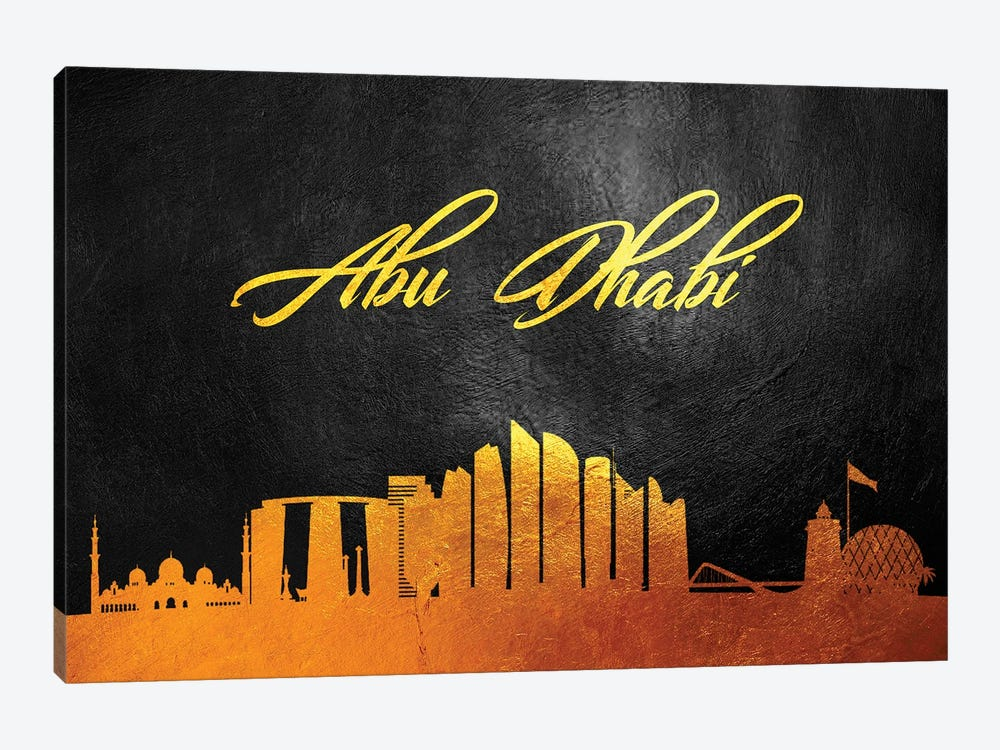 Abu Dhabi United Arab Emirates Gold Skyline by Adrian Baldovino 1-piece Canvas Wall Art
