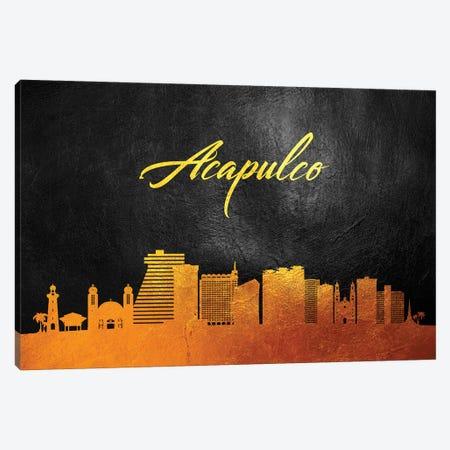 Acapulco Mexico Gold Skyline Canvas Print #ABV490} by Adrian Baldovino Canvas Artwork