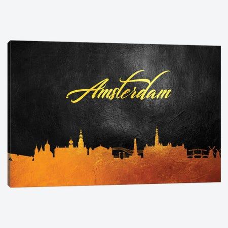 Amsterdam Netherlands Gold Skyline Canvas Print #ABV491} by Adrian Baldovino Canvas Art