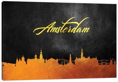 Amsterdam Netherlands Gold Skyline Canvas Art Print