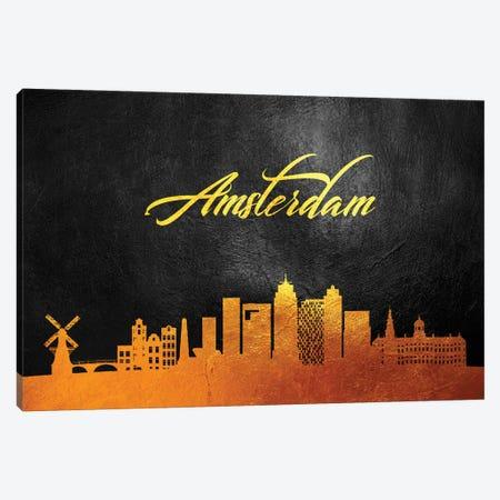 Amsterdam Netherlands Gold Skyline 2 Canvas Print #ABV492} by Adrian Baldovino Canvas Wall Art
