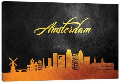 Amsterdam Netherlands Gold Skyline 2 Canvas Art Print