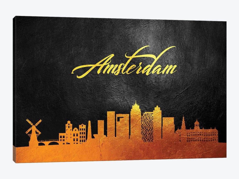 Amsterdam Netherlands Gold Skyline 2 by Adrian Baldovino 1-piece Canvas Art