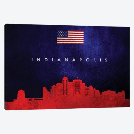 Indianapolis Indiana Skyline Canvas Print #ABV49} by Adrian Baldovino Canvas Art