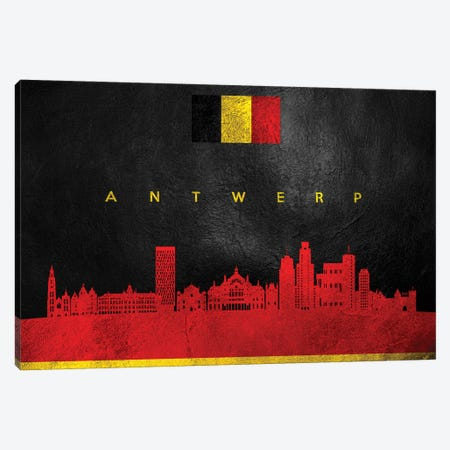 Antwerp Belgium Skyline Canvas Print #ABV4} by Adrian Baldovino Canvas Artwork
