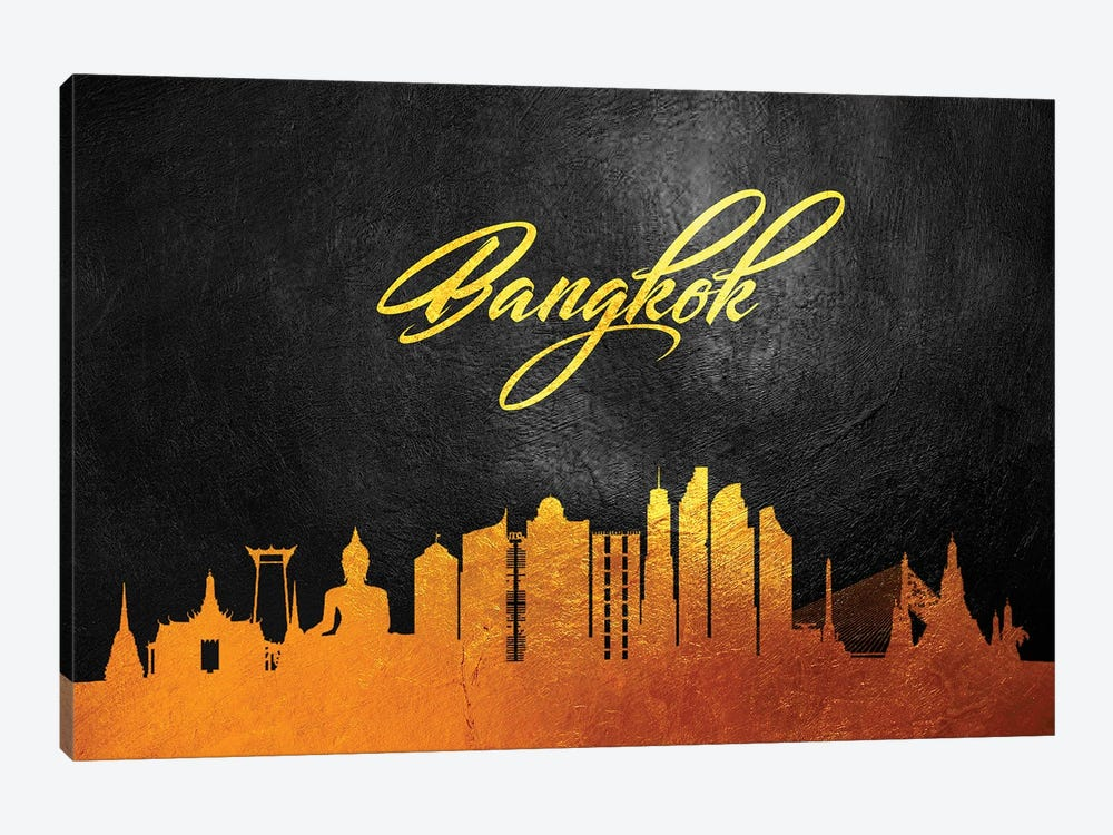 Bangkok Thailand Gold Skyline 2 by Adrian Baldovino 1-piece Canvas Art