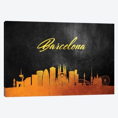 Barcelona Spain Gold Skyline 2 Canvas Print #ABV503} by Adrian Baldovino Canvas Art