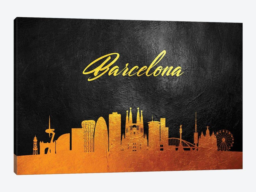 Barcelona Spain Gold Skyline 2 by Adrian Baldovino 1-piece Canvas Art Print