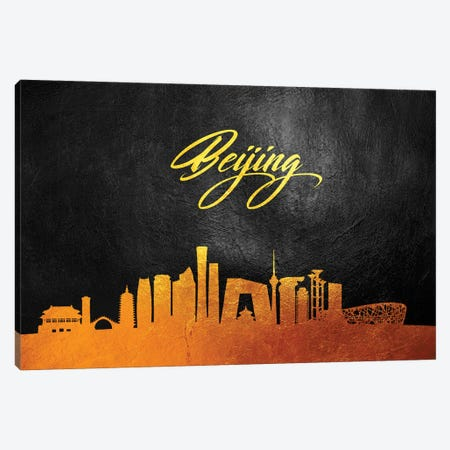Beijing China Gold Skyline Canvas Print #ABV504} by Adrian Baldovino Canvas Print