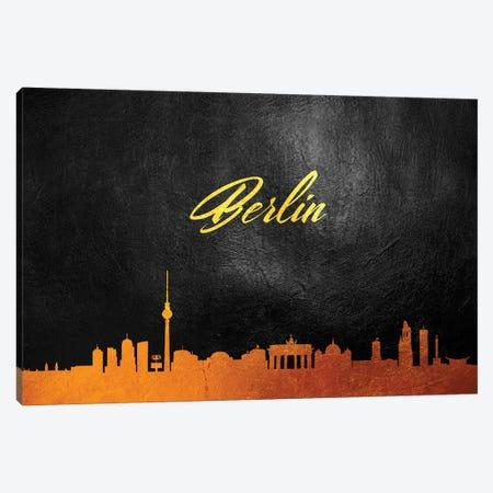Berlin Germany Gold Skyline 2 3-Piece Canvas #ABV512} by Adrian Baldovino Art Print