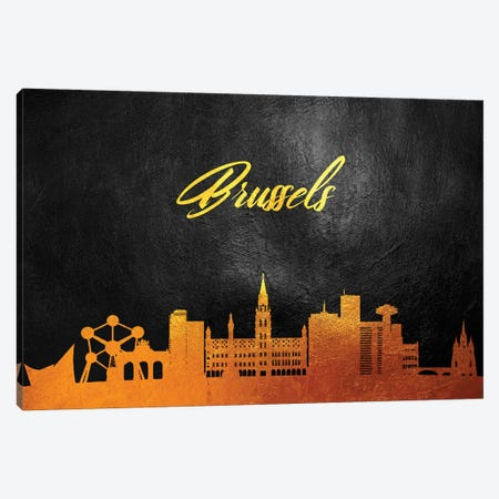 Brussels Belgium Gold Skyline 3-Piece Canvas #ABV517} by Adrian Baldovino Canvas Art