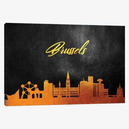 Brussels Belgium Gold Skyline Canvas Print #ABV517} by Adrian Baldovino Canvas Art