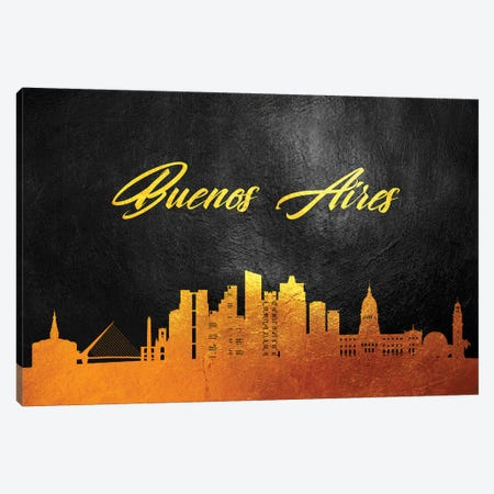 Buenos Aires Argentina Gold Skyline 3-Piece Canvas #ABV519} by Adrian Baldovino Canvas Art Print