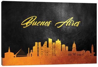 Buenos Aires Argentina Gold Skyline Canvas Art Print