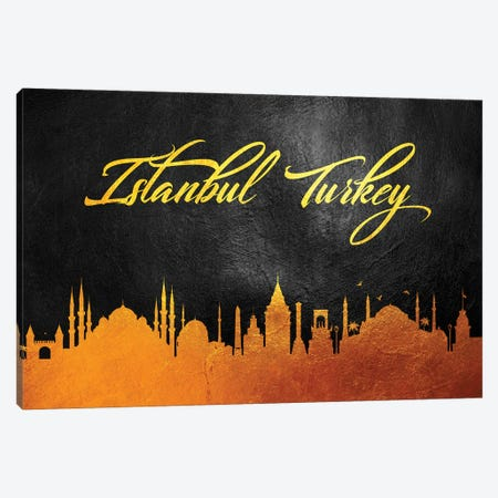 Istanbul Turkey Gold Skyline Canvas Print #ABV51} by Adrian Baldovino Canvas Print