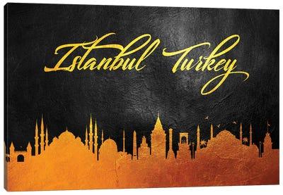 Istanbul Turkey Gold Skyline Canvas Art Print