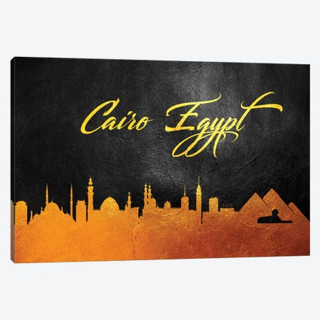 Cairo Egypt Gold Skyline 3-Piece Canvas #ABV522} by Adrian Baldovino Canvas Wall Art