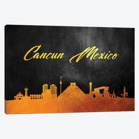 Cancun Mexico Gold Skyline Canvas Print #ABV526} by Adrian Baldovino Art Print