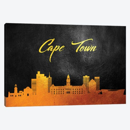 Cape Town South Africa Gold Skyline Canvas Print #ABV527} by Adrian Baldovino Canvas Art Print