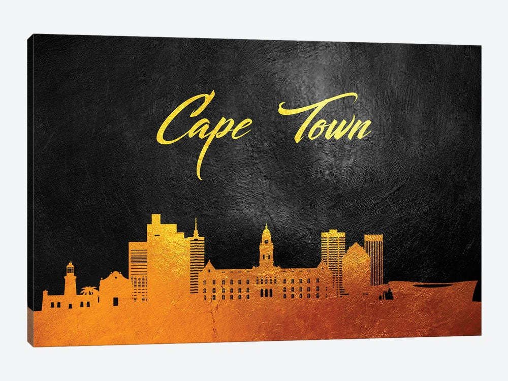 Cape Town South Africa Gold Skyline by Adrian Baldovino 1-piece Canvas Print