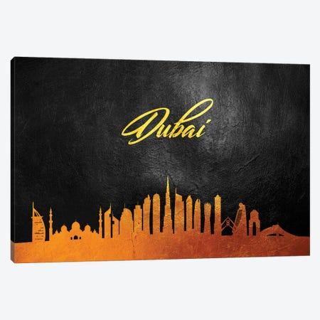 Dubai United Arab Emirates Gold Skyline 2 Canvas Print #ABV536} by Adrian Baldovino Canvas Art
