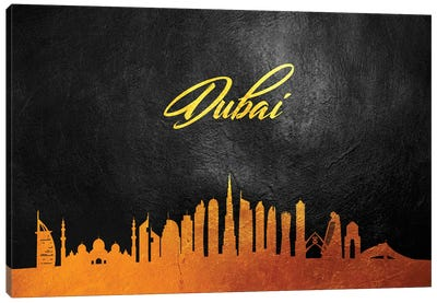 Dubai United Arab Emirates Gold Skyline 2 Canvas Art Print