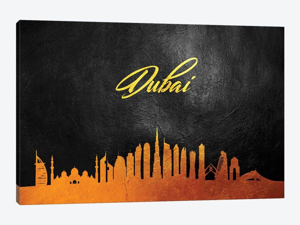 Dubai United Arab Emirates Gold Skyline 2 by Adrian Baldovino 1-piece Canvas Print