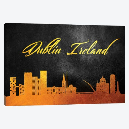 Dublin Ireland Gold Skyline Canvas Print #ABV537} by Adrian Baldovino Canvas Art