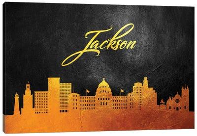Jackson Mississippi Gold Skyline Canvas Art Print