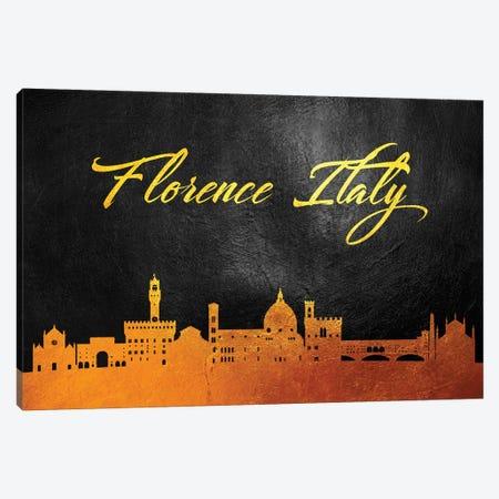Florence Italy Gold Skyline Canvas Print #ABV542} by Adrian Baldovino Canvas Art