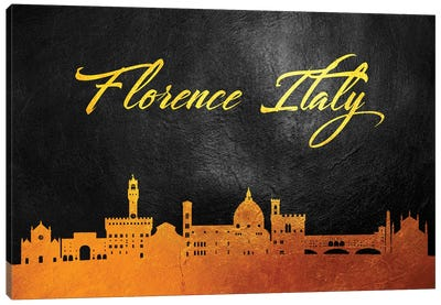 Florence Italy Gold Skyline Canvas Art Print