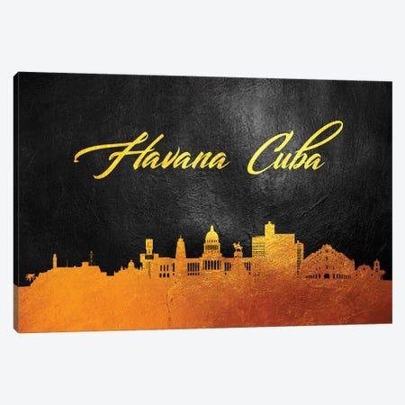 Havana Cuba Gold Skyline 3-Piece Canvas #ABV552} by Adrian Baldovino Canvas Print