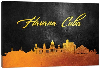 Havana Cuba Gold Skyline Canvas Art Print