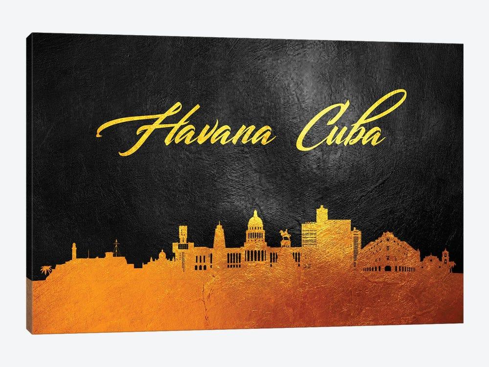Havana Cuba Gold Skyline by Adrian Baldovino 1-piece Canvas Print