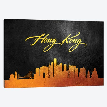 Hong Kong Gold Skyline Canvas Print #ABV554} by Adrian Baldovino Canvas Artwork