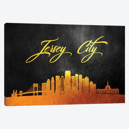 Jersey City New Jersey Gold Skyline Canvas Print #ABV55} by Adrian Baldovino Canvas Art