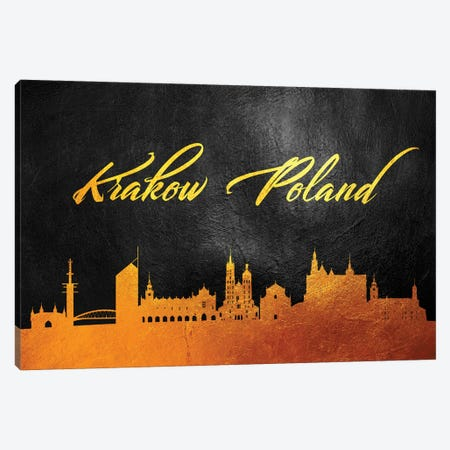 Krakow Poland Gold Skyline Canvas Print #ABV566} by Adrian Baldovino Canvas Print