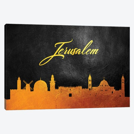 Jerusalem Israel Gold Skyline Canvas Print #ABV56} by Adrian Baldovino Canvas Artwork