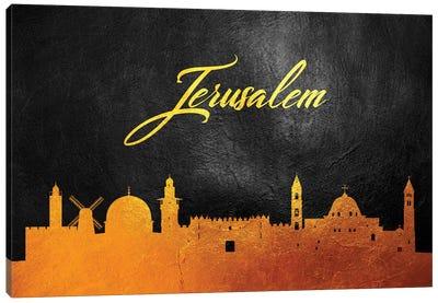 Jerusalem Israel Gold Skyline Canvas Art Print