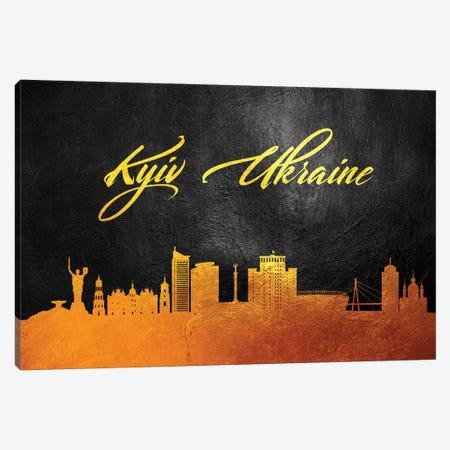 Kyiv Ukraine Gold Skyline Canvas Print #ABV570} by Adrian Baldovino Art Print