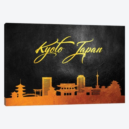 Kyoto Japan Gold Skyline Canvas Print #ABV571} by Adrian Baldovino Canvas Art Print