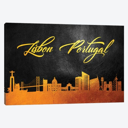 Lisbon Portugal Gold Skyline 2 Canvas Print #ABV573} by Adrian Baldovino Canvas Print