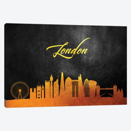 London England Gold Skyline 2 Canvas Print #ABV576} by Adrian Baldovino Canvas Artwork