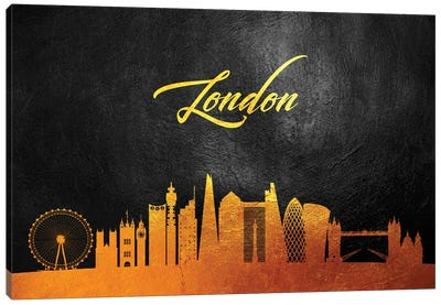London England Gold Skyline 2 Canvas Art Print