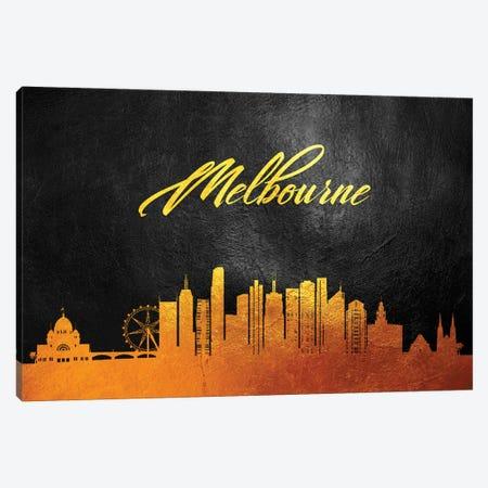 Melbourne Australia Gold Skyline Canvas Print #ABV586} by Adrian Baldovino Canvas Art Print