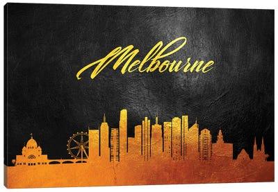 Melbourne Australia Gold Skyline Canvas Art Print