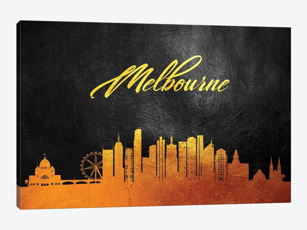 Melbourne Australia Gold Skyline by Adrian Baldovino 1-piece Canvas Artwork