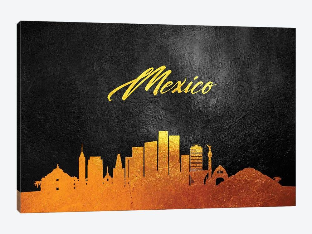 Mexico Gold Skyline by Adrian Baldovino 1-piece Art Print
